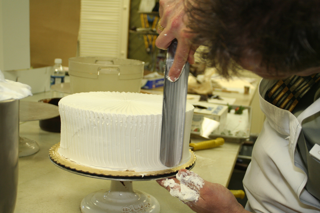Chef Michael adds some ridges to his cake