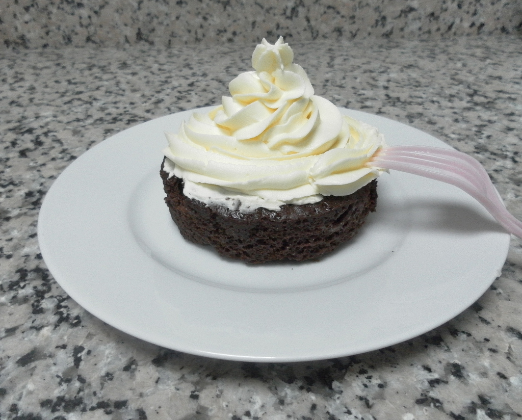 chocolate microwave cake with vanilla buttercream