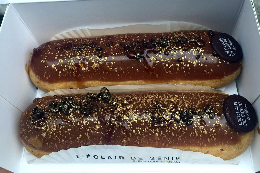 Salted caramel eclairs at L'Eclair de Génie